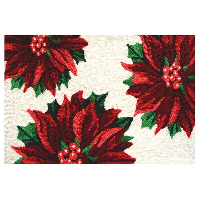 Homefires Accents Seasonal Three Poinsettias Novelty Rug