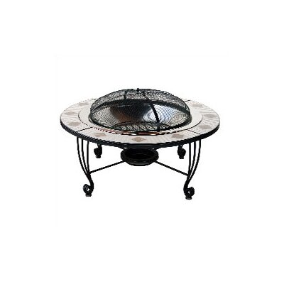 Mosaic Tile Wood Burning Fire Pit Table
