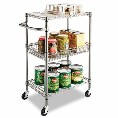 Alera® Wire Shelving Three-Tier Rolling Cart in Black Anthracite