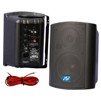 AmpliVox Sound Systems Powered Wall or Ceiling Mount Stereo Speakers