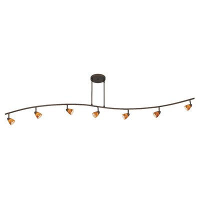 Serpentine Seven Light Track Light with Amber Swirl Glass in Rust