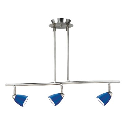 Serpentine Three Light Track Light with Blue Glass in Brushed Steel