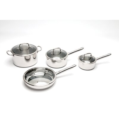 BergHOFF International Boreal Stainless Steel 4-Piece Cookware Set with Lids