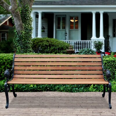 Vifah Outdoor Furniture Wood and Cast Iron Park Bench