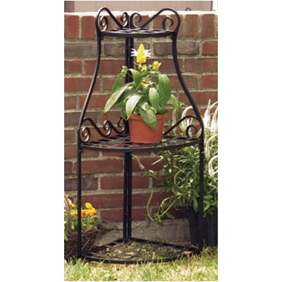 Black Olde World Forged Triangular Corner Stand Planter