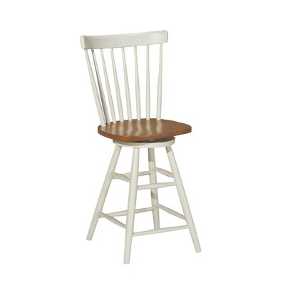 "International Concepts Madison Park 24"" Spindleback Swivel Counter Stool in Heritage Oak/Pearl"