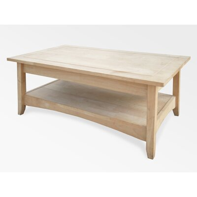 International Concepts Unfinished Wood Bombay Coffee Table with Lift-Top