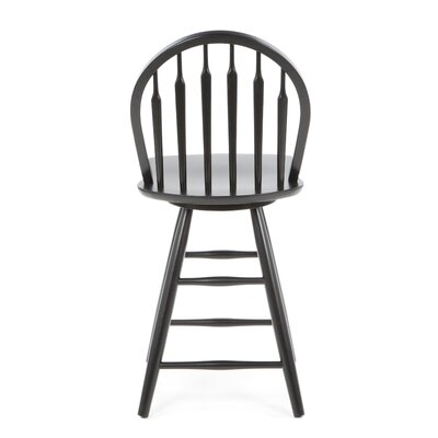 "International Concepts 24"" Windsor Arrowback Swivel Counter Stool (Black)"