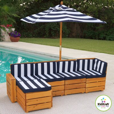 KidKraft Kids Outdoor 5 Piece Sectional Seating Group with Cushions