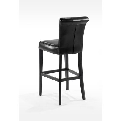 "Armen Living Urbanity Sangria 26"" Tufted Leather Barstool in Black"