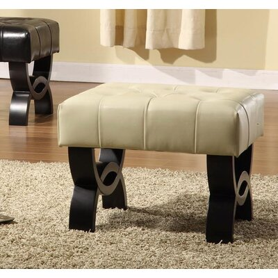 Armen Living Central Park Leather Ottoman