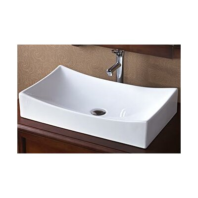 Ronbow Rectangle Ceramic Vessel Sink without Overflow in White
