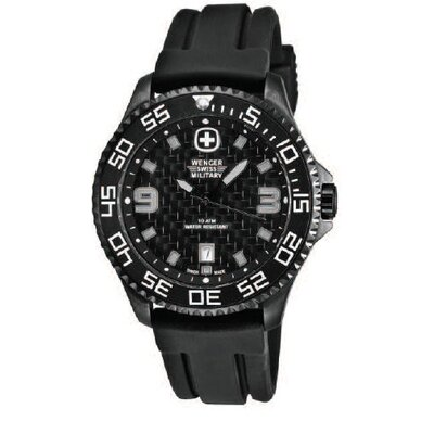 Trekker Military Wrist Watch with Textured Dial and Black Rubber Strap