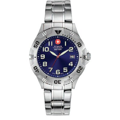 Wenger Swiss Gear Brigade Military Wrist Watch with Petrol Blue Sunray Dial and Bracelet