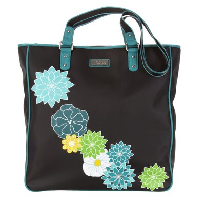 Hadaki Nylon City Tote in Black with Teal Trim