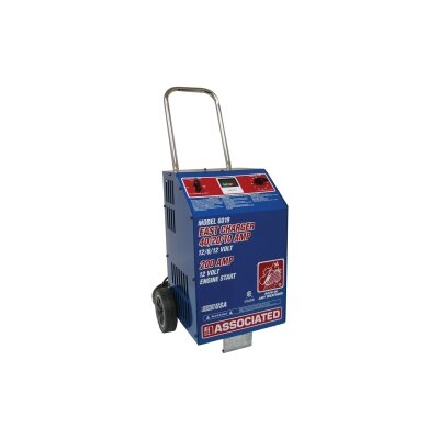 Associated Equipment Charger, 6/12V 40/20/10A With Timer, 200 Amp Crank Assist, Wheels, Made In Usa