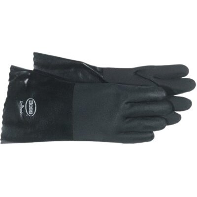 "Boss Manufacturing Company Jersey Lined Black PVC Coated Gloves - 14"" black pvc glove smooth grip jersey line"