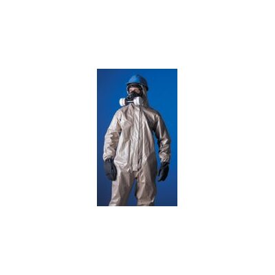 DuPont Tychem® CPF3 Tan Coverall With Taped Seams Attached Hood Front Zipper Closure Storm Flap And Elastic Wrists And Ankles