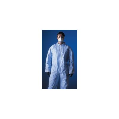 DuPont ProShield® Blue Coverall With Zipper Front, Attached Hood, Skid Resistant Boots, And Elastic Wrists And Face