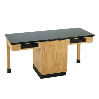 Diversified Woodcrafts 2 Station Science Table With Storage Cabinet &amp; Book Compartments