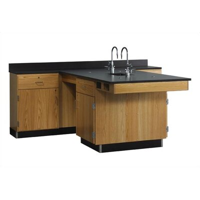Diversified Woodcrafts Perimeter Workstation With Door, Drawer, Sink & Fixtures