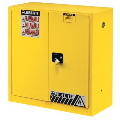 Justrite Yellow Safety Cabinets for Flammables - 30g cab man yl flam safeex