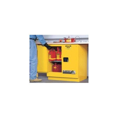 "Justrite X 35"" X 22"" Yellow 22 Gallon Undercounter Sure-Grip® EX Safety Cabinet With 2 Manual Doors And 1 Shelf"