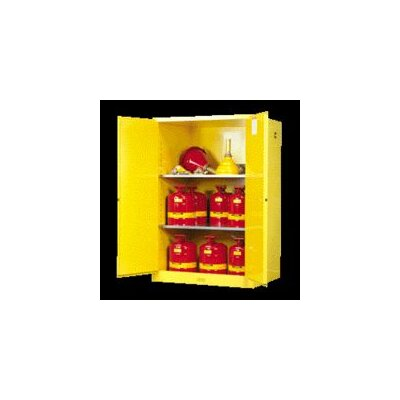 "Justrite X 43"" X 18"" Yellow 30 Gallon Sure-Grip® EX Safety Cabinet For Flammables With 2 Manual Doors And 1 Shelf"