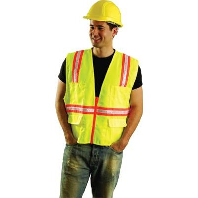 OccuNomix Hi-Viz Yellow OccuLux® Polyester Surveryor Vest With 2 Tone Trim, 2 Surveryor Top Front Pockets, 2 Lower Front Pockets With Flap Covers, 2 Large Inside Pockets And Zipper Closure