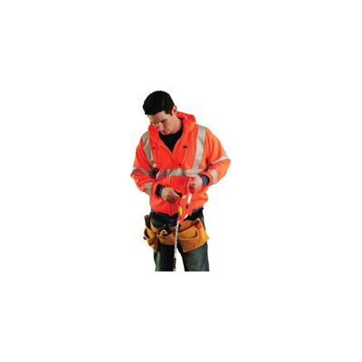 OccuNomix Orange Hi Viz Wicking Polyester Hooded Sweatshirt With Zippered Front And Elastic Cuffs And Waistband