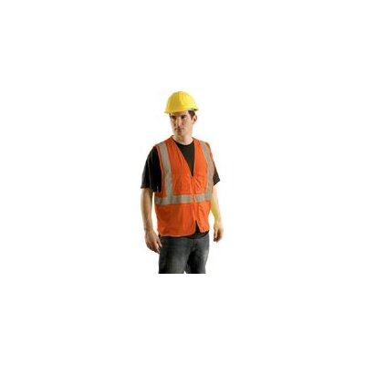 OccuNomix Large Hi Viz Orange Class II Economy Mesh Surveryor's Vest With Silver Stripes