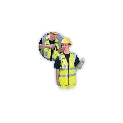 OccuNomix High Visibility Yellow OccuLux® Multi-Pocketed Zipper Vest W/3M™ Scotchlite™ Reflective Tape (ANSI Class 2)