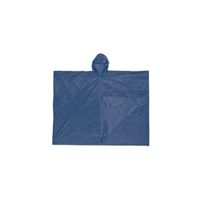 River City Size Fits All Blue Schooner 0.1 mm PVC Rain Poncho With Welded Seams, Snap Closure And Attached Hood