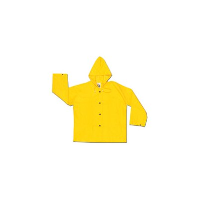 River City Yellow 0.28 mm Nylon Rain Jacket With Welded Seams, Storm Flap Over Snap Front Closure, Attached Drawstring Hood, Snap Wrists, Plain Back, No Pocket And s