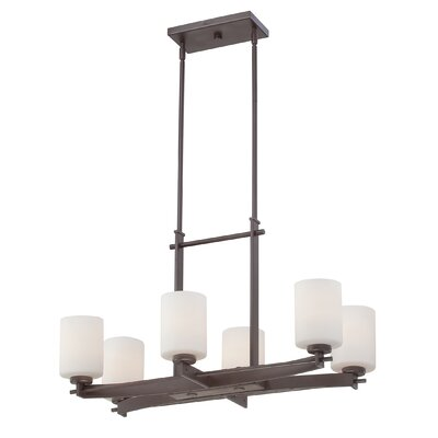 Taylor Six Light Kitchen Island Light in Western Bronze