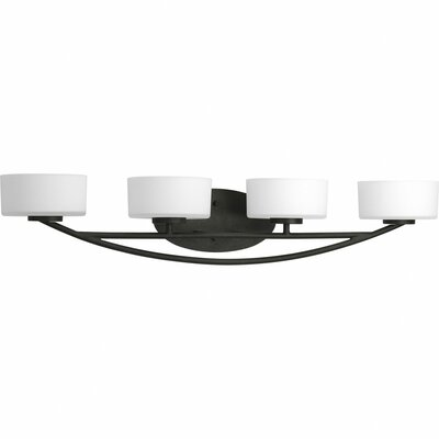 Progress Lighting Calven Four Light Bath Vanity in Forged Black