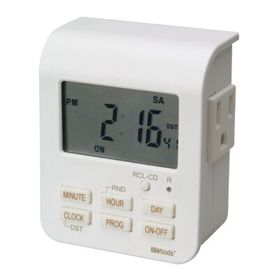Woods Wire Indoor 7-Day Digital Heavy Duty Timer with 2-Outlet