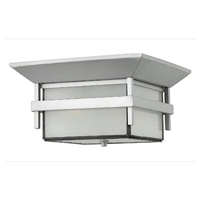 Hinkley Lighting Harbor Outdoor Flush Mount in Titanium with Energy Saving Option