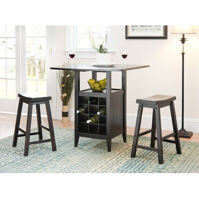 Safavieh Soren Drop Leaf Pub Table in Dark Espresso (Set of 3)