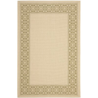 Courtyard Cream/Green Floral Rug