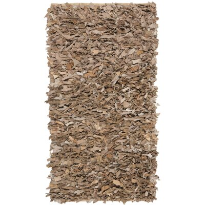 Leather Shag Dark Beige Rug