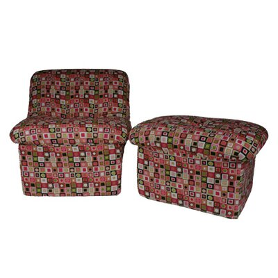 Fun Furnishings Candyland Plaid Teen Cloud Chair and Ottoman Set
