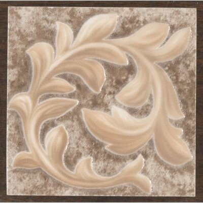"Mohawk Flooring Primabella 4"" x 4"" Cascading Leaves Decorative Corner Tile in Espresso"