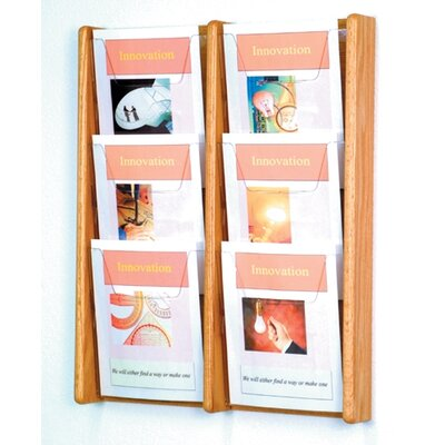 Wooden Mallet Six Pocket Acrylic and Oak Wall Display