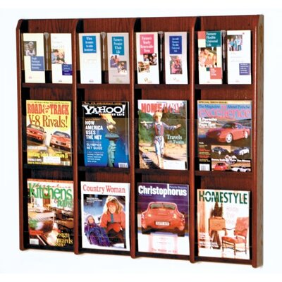 Wooden Mallet Twelve Magazine and 24 Brochure Oak and Acrylic Wall Display with Optional Floor Stand