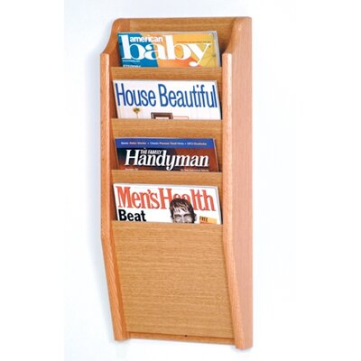 Wooden Mallet Four Pocket Wall Mount Magazine Rack