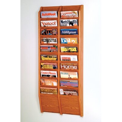 Wooden Mallet Twenty Pocket Wall Mount Magazine Rack