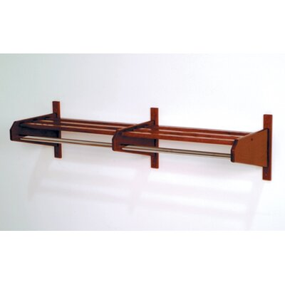 Wooden Mallet Double Hat and Coat Rack with Chrome Bar