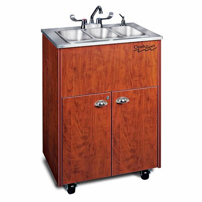 Ozark River Portable Sinks Silver Premier 3 Stainless Steel Portable Triple Hand-Washing Station NSF Certified