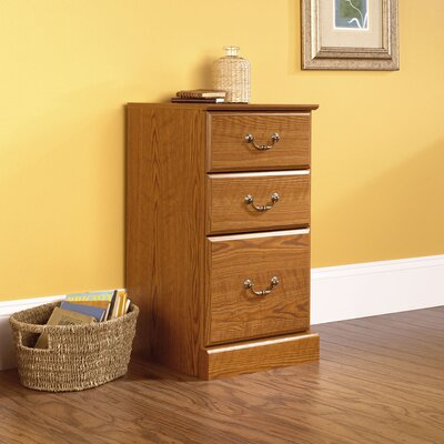 Sauder Orchard Hills Three Drawer Pedestal in Carolina Oak